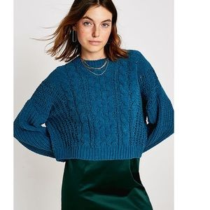 UO Cable Knit Chenille Pullover Jumper Sweater